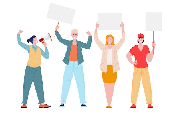 Protesting people on demonstration or strike with megaphone and placards Premium Vector