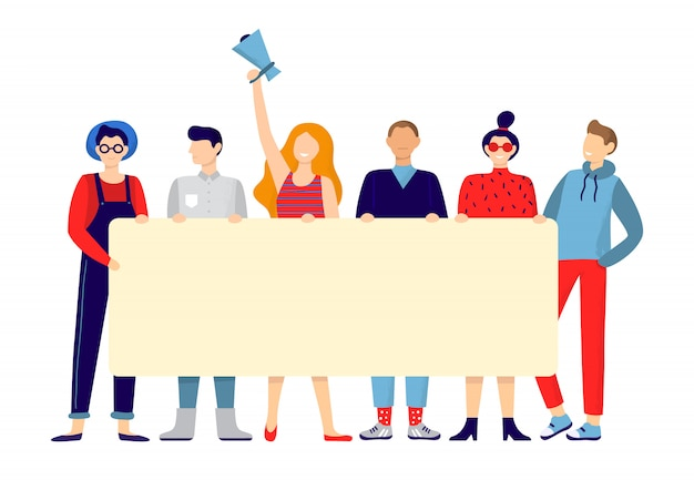 Protesting people group. activists hold sign board or placard, team holding announce poster and active protest  illustration Premium Vector