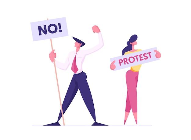 Протест людей с плакатами на демонстрационной иллюстрации Premium векторы