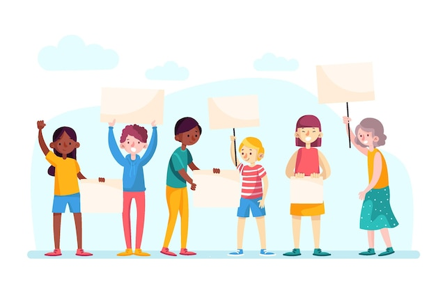 Protesting people Free Vector