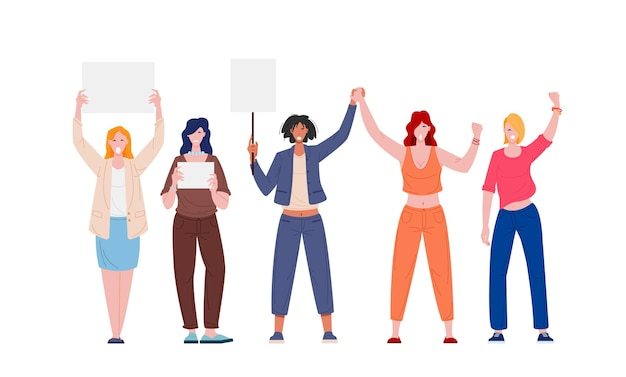 Protesting women feminist activists with blank placards isolated on white background Premium Vector