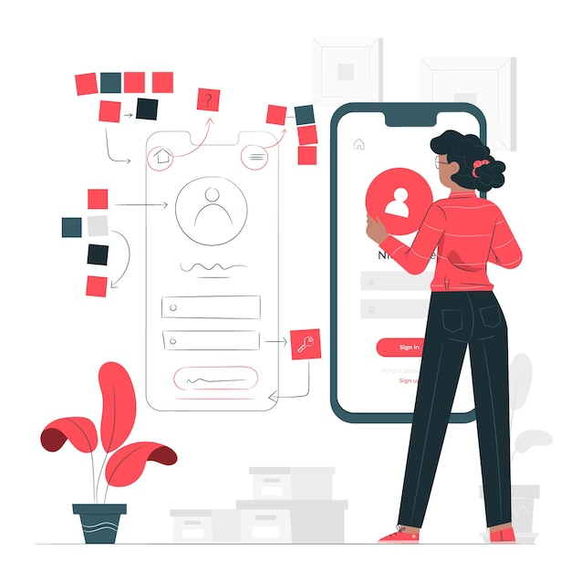Prototyping process concept illustration Free Vector