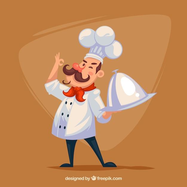 Гордый шеф-повар с подносом Бесплатные векторы