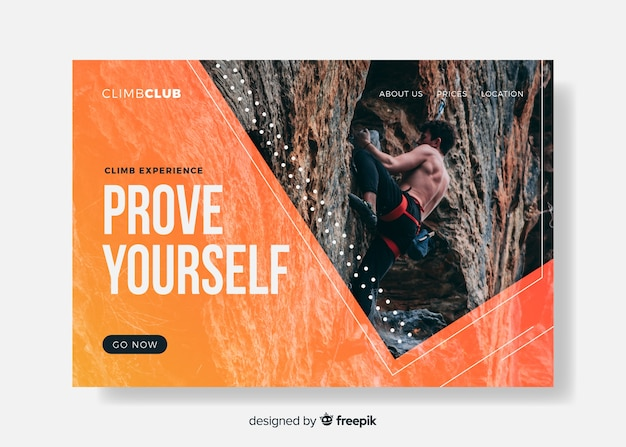 Prove yourself sport landing page Free Vector