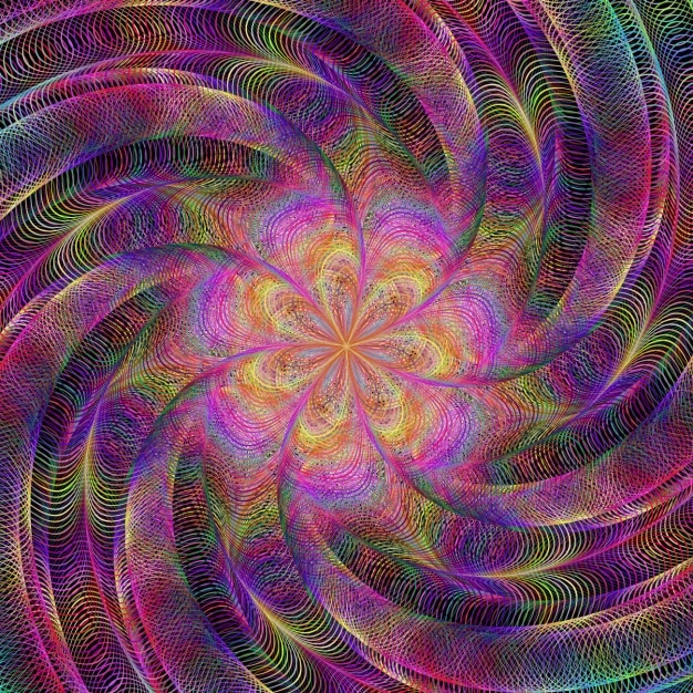 Psychedelic background with a spiral Free Vector