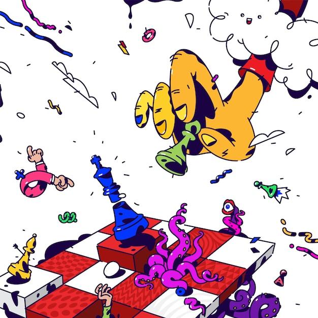 Psychedelic chess. Premium Vector