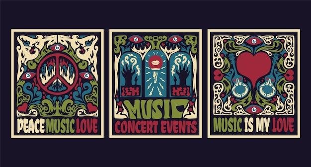 サイケデリックな音楽カバー(60年代と70年代のスタイル) 無料ベクター
