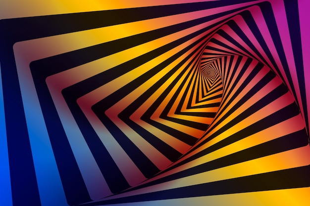 Psychedelic optical illusion background Free Vector