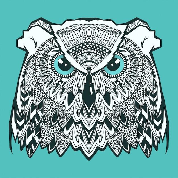 Psychedelic owl head with zentangle elements. hand drawn doodle Premium Vector