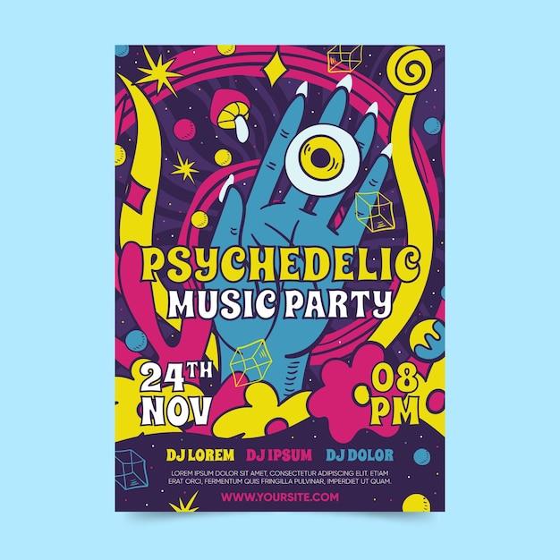 Modello di poster psichedelico Vettore gratuito