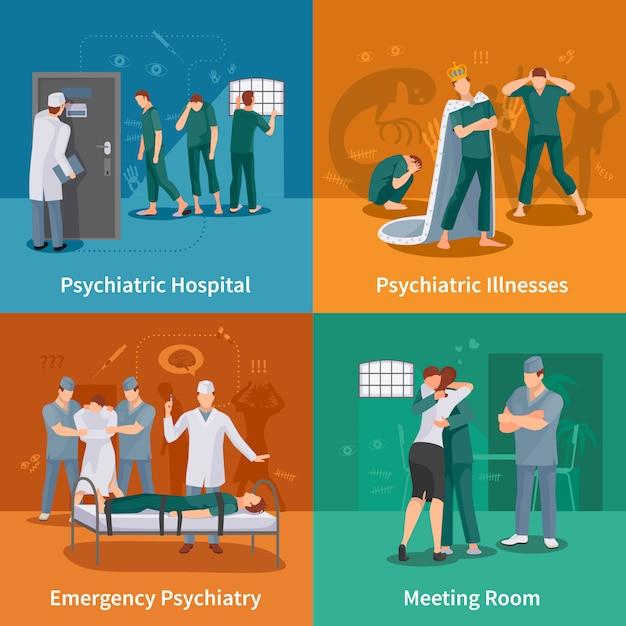 Psychiatric illnesses concept icons set Free Vector