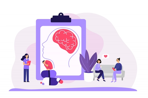Psychiatrist counseling faceless patients Free Vector