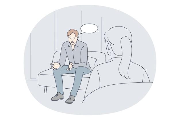 Психиатр, психологическая поддержка, концепция медицинской помощи. Premium векторы