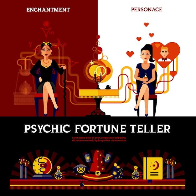 Concetto di fortune teller psichico Vettore gratuito