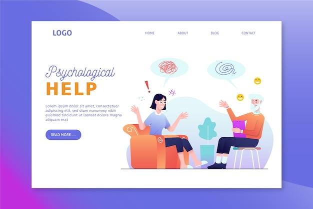 Шаблон целевой страницы психологической помощи Бесплатные векторы