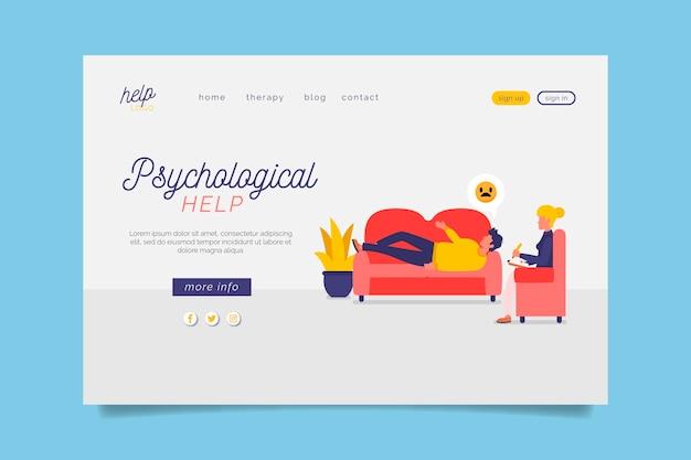 ソファ付きの心理的ヘルプランディングページ 無料ベクター