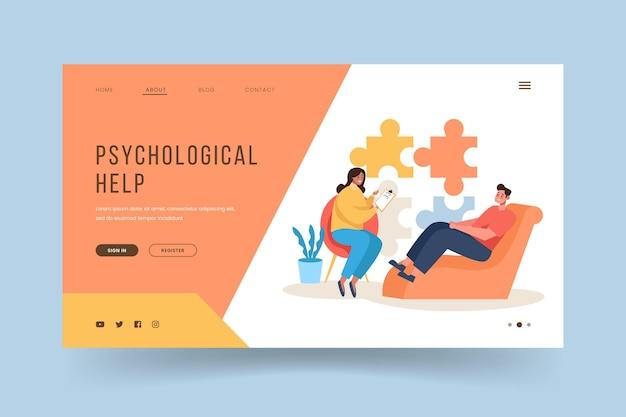 医師と患者の心理的ヘルプランディングページ 無料ベクター
