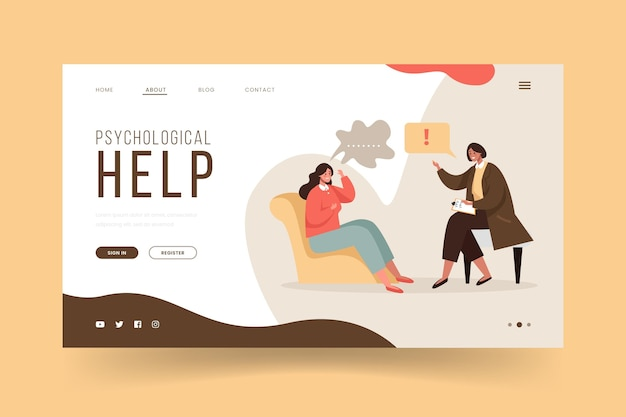 Pagina di destinazione dell'aiuto psicologico con paziente e medico Vettore gratuito