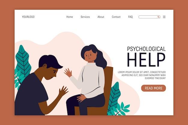 Aiuto psicologico - pagina di destinazione Vettore gratuito