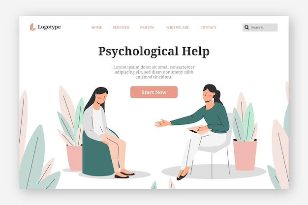 Psychological help - landing page Free Vector