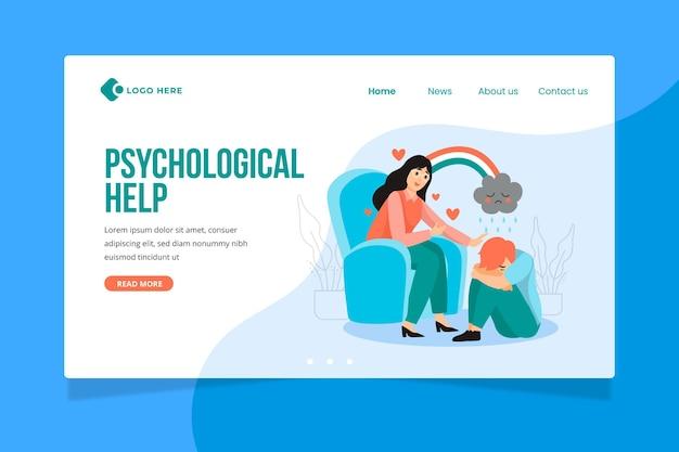 Pagina di destinazione dell'aiuto psicologico Vettore gratuito
