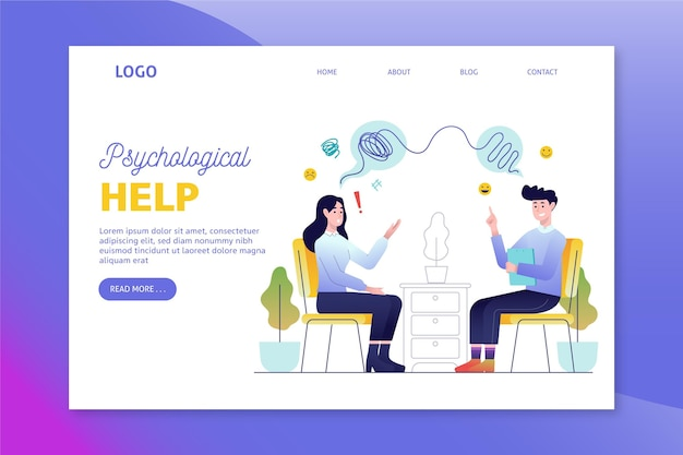 Psychological help landing page Free Vector