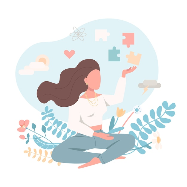 Psychologically healthy female in flat style Premium Vector