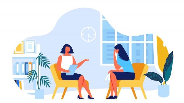 Psychologist communicates with client. vector. Premium Vector