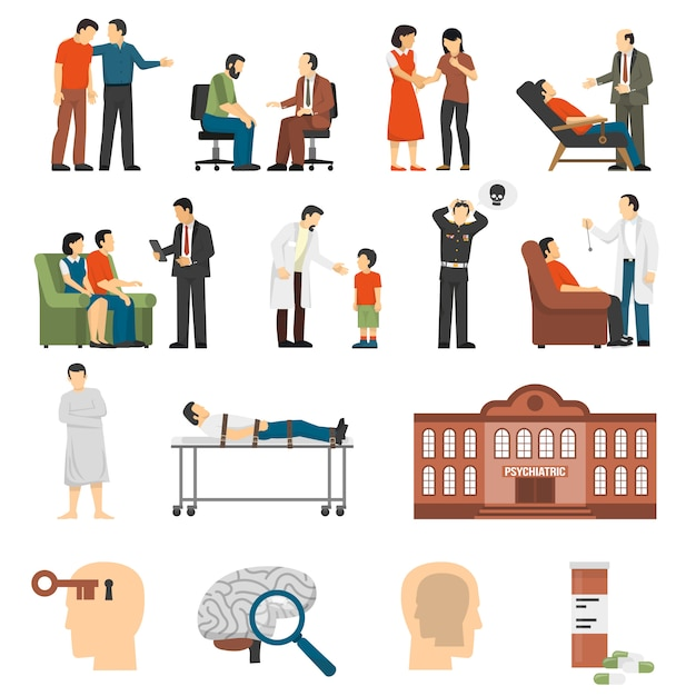 Psychologist counselings icons set Free Vector