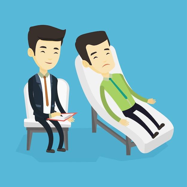 Психолог, имеющий сеанс с пациентом. Premium векторы