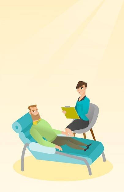 Психолог, сессия с пациентом. Premium векторы
