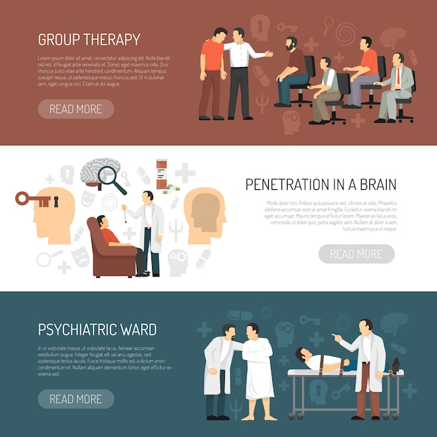 Psychologist horizontal banners Free Vector