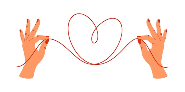 Psychology concept.human hands holding the ends of red threads in the shape of heart. Premium Vector