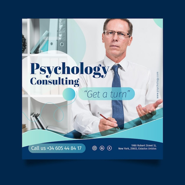 Psychology flyer template Free Vector