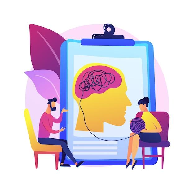 Иллюстрация абстрактной концепции психотерапии. немедикаментозное вмешательство, вербальные консультации, услуги психотерапии, поведенческая когнитивная терапия, индивидуальный сеанс. Бесплатные векторы