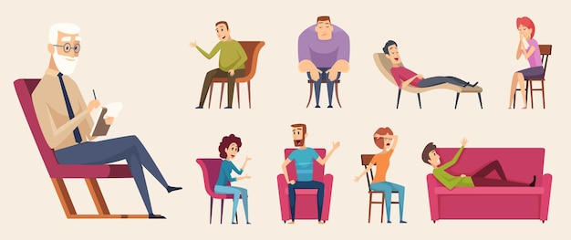 Консультации по психотерапии. люди общаются в толпе, беседуют с консультантом по психологии семейной терапии. иллюстрация психотерапии и консультации психолога Premium векторы