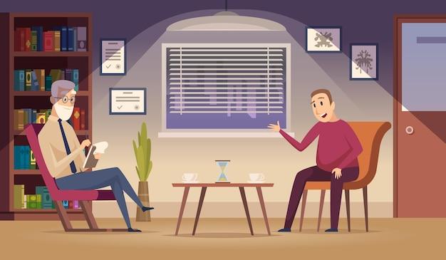 Психотерапия. пациент на диване профессиональный сеанс диалога психотерапии в интерьере мультфильма клиники. Premium векторы