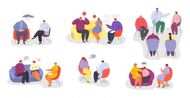 心理療法、心理学者医師相談イラストセットの人々。 Premiumベクター