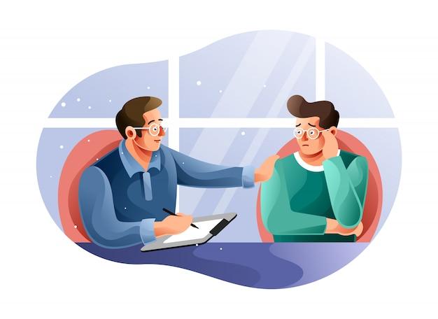 Сеанс психотерапии с пациентом Premium векторы