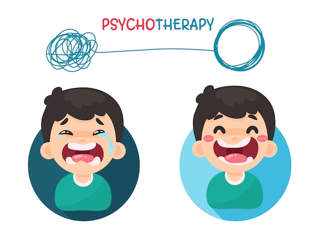 Psychotherapy. treatment of mental problems by solving chaotic thoughts with a good attitude. Premium Vector