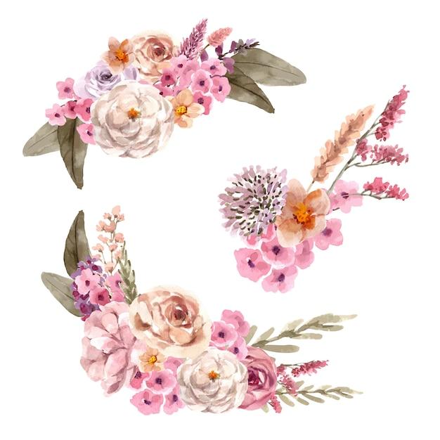 Флористический букет вина с цветком ptilotus, розой, пионом акварель иллюстрации. Бесплатные векторы