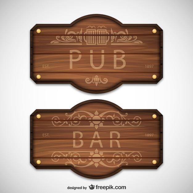 pub and bar wooden signs vector free download