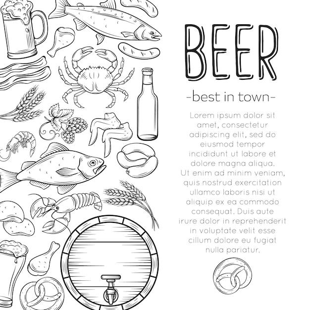 펍 음식과 맥주 포스터 프리미엄 벡터