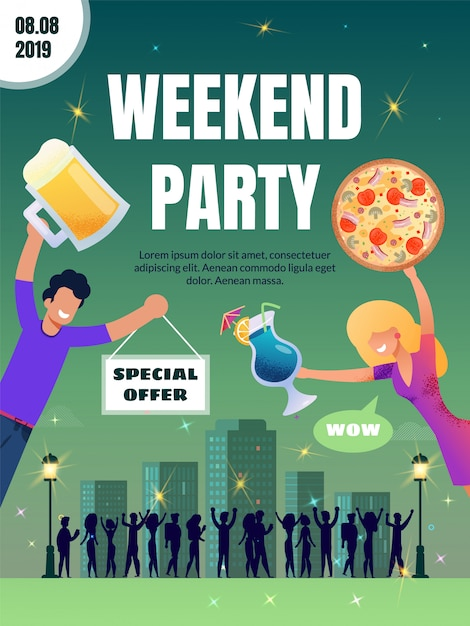 Pub special offer on food and drink vector poster Premium Vector