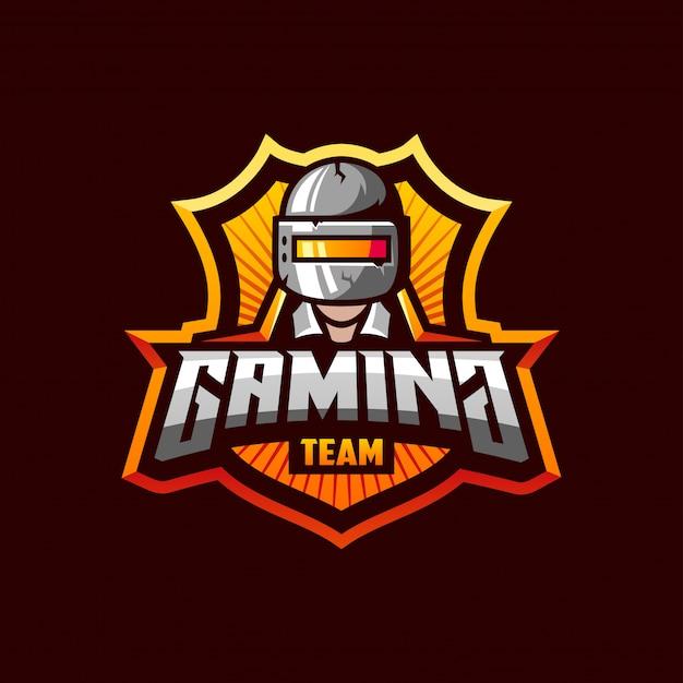 Потрясающий шаблон логотипа для спортивной команды pubg gaming Premium векторы