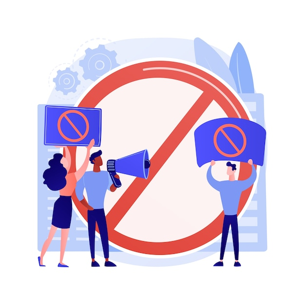 Public backlash abstract concept vector illustration. public reaction, bias and discrimination, minority rights, group protest, social media, sexual harassment, people outrage abstract metaphor. Free Vector