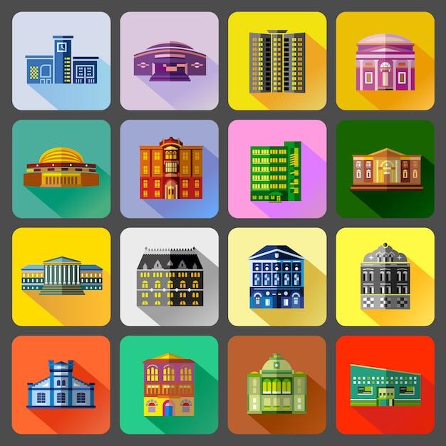 Public buildings icons set in flat style Premium Vector