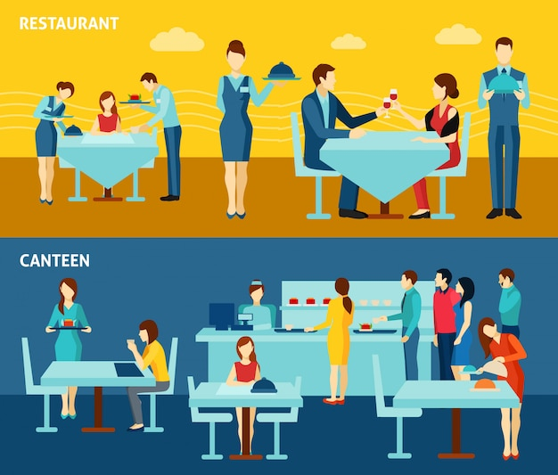 Public catering 2 flat horizontal banners Free Vector