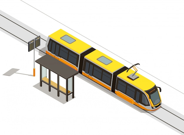 Public city transport isometric composition with view of streetcar line and rolling stock with transit shelter Free Vector