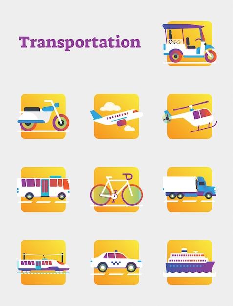 Public and commercial transportation elements collection Premium Vector